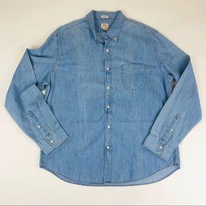 New J. Crew Classic Denim Shirt Men XL Blue Wash